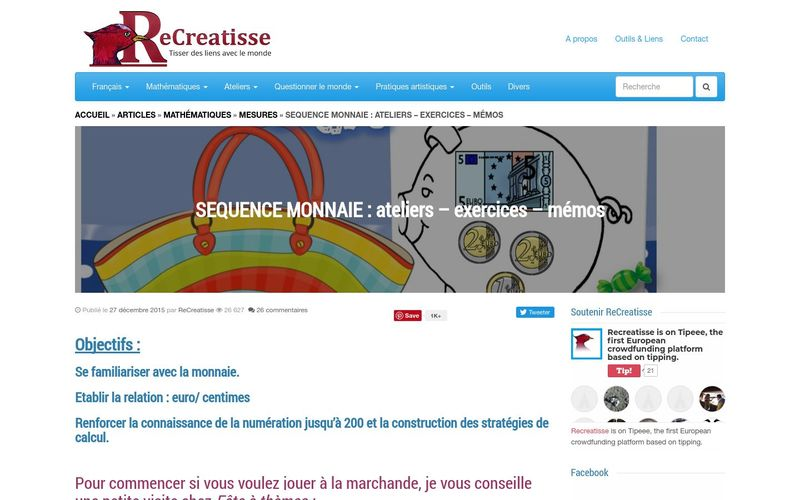 ReCreatisse : SEQUENCE MONNAIE (ateliers - exercices - mémos)